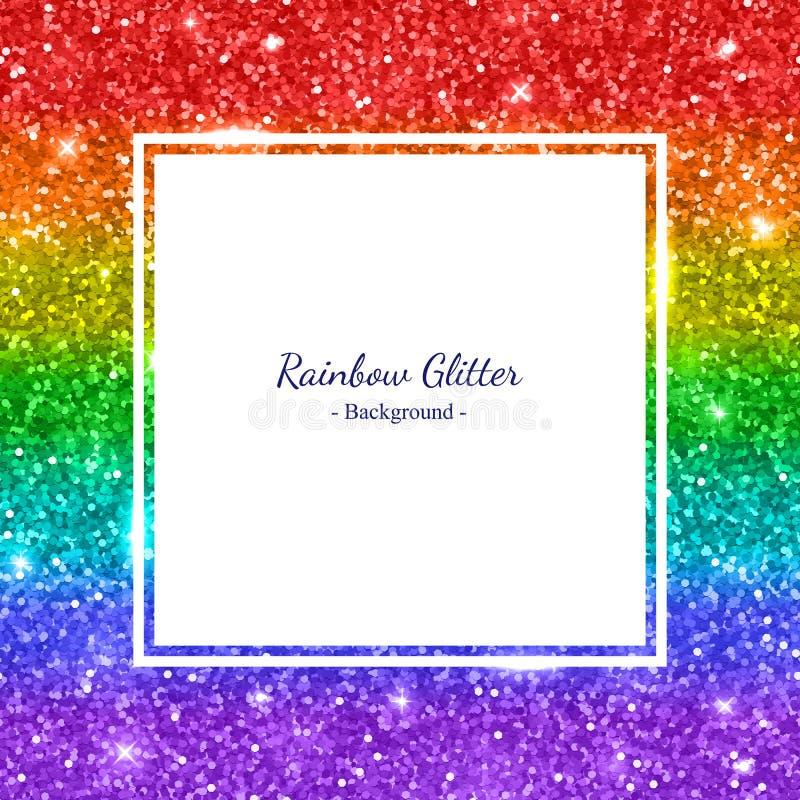 Rainbow glitter background square frame, horizontal stripes. Vector. Illustration royalty free illustration