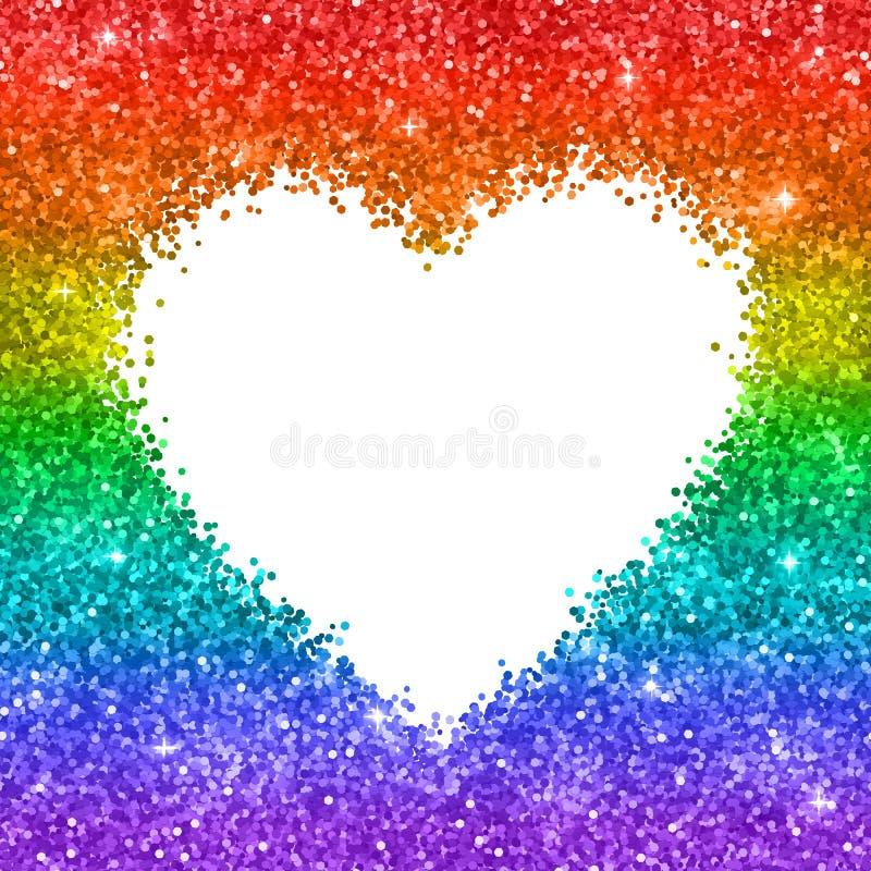Rainbow Glitter Heart Frame On White Background. Vector