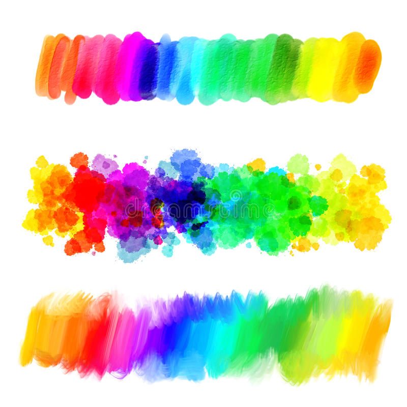 Rainbow gradient. Abstract oil painting. Blank colorful blot. Blurred spot. Blob. Freehand drawing. Conceptual illustration. Isolated on white background royalty free illustration