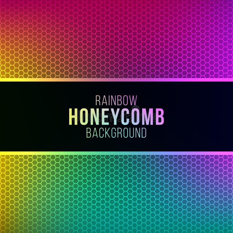 Rainbow gradient background with honeycomb pattern royalty free illustration