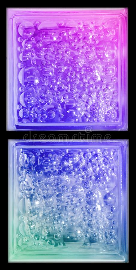 Rainbow gradient colors transparent trio piece square bathroom glass block cube with circle bubble pattern in rough texture .Use f. Or object and materials stock image