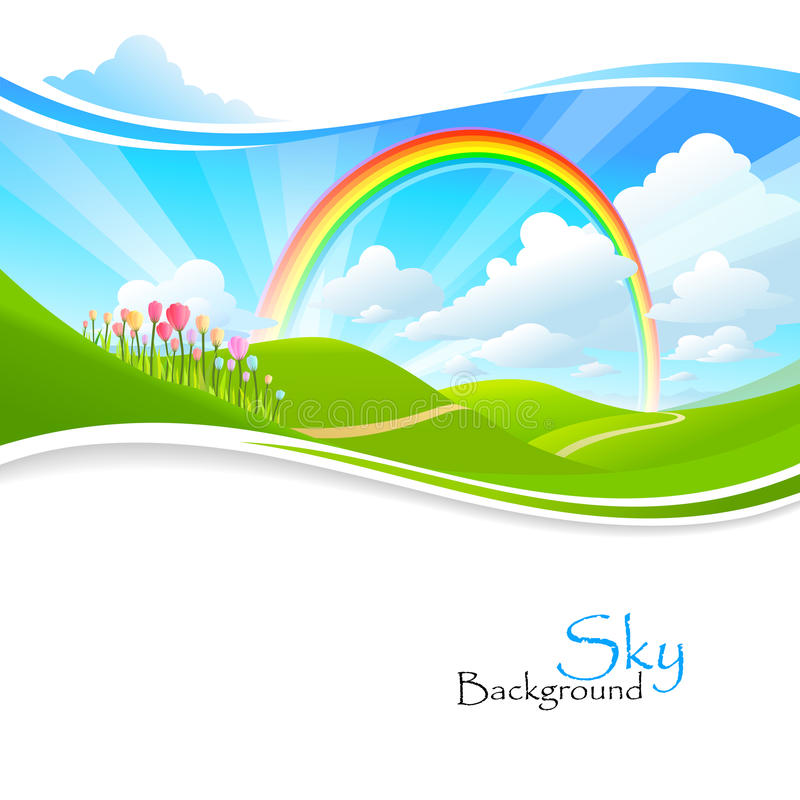Rainbow , Green hills and Blue Sky. For your creative needs royalty free illustration