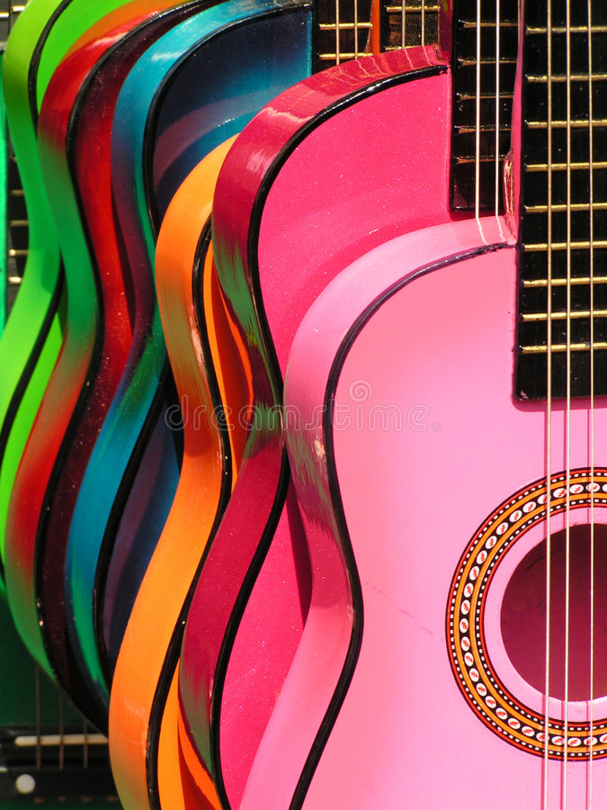 Rainbow guitars. Colorful guitars at the Olivera Street market in downtown Los Angeles