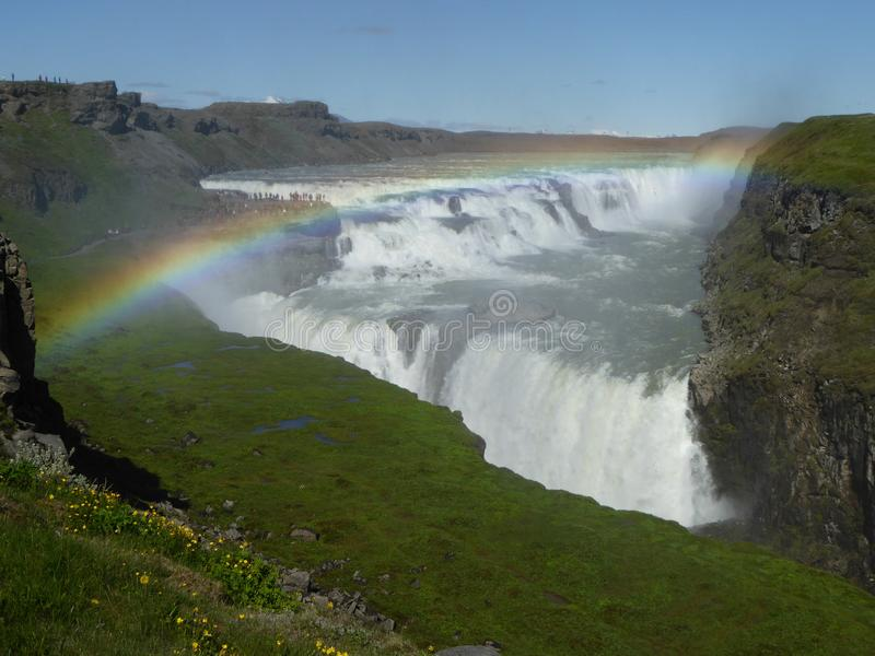 Rainbow in Gulfoss Iceland royalty free stock photography