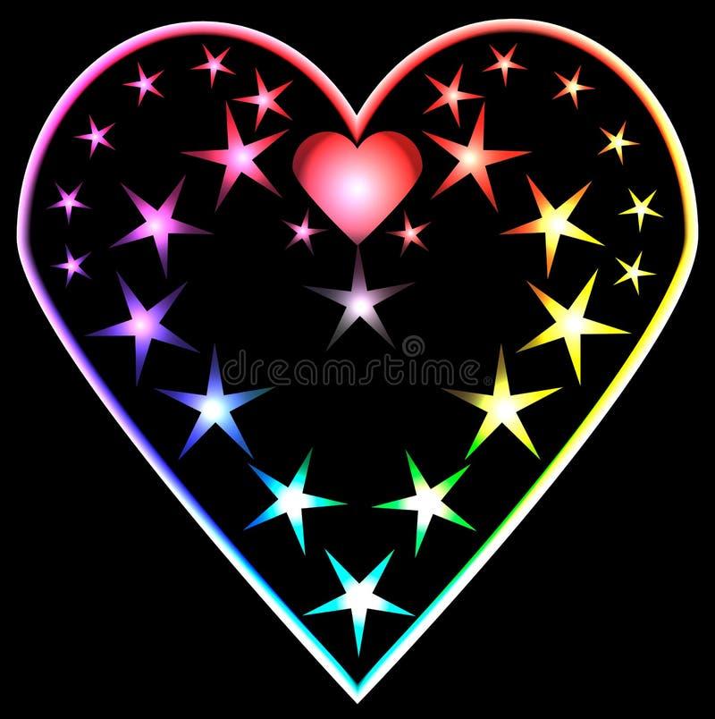 Rainbow haert. On a black background vector illustration