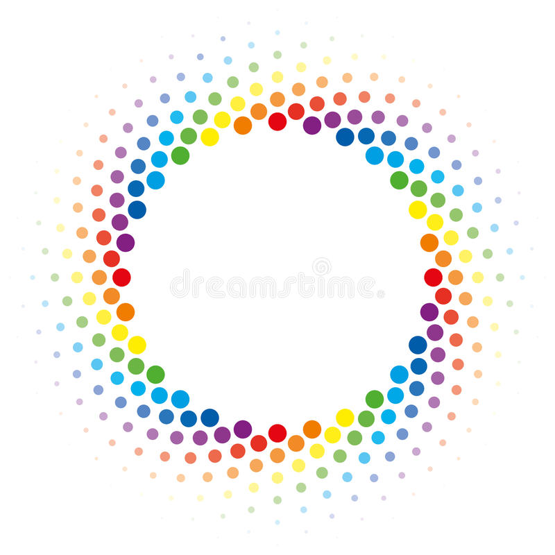 Rainbow Halftone swirl circle frame vector design element. royalty free illustration