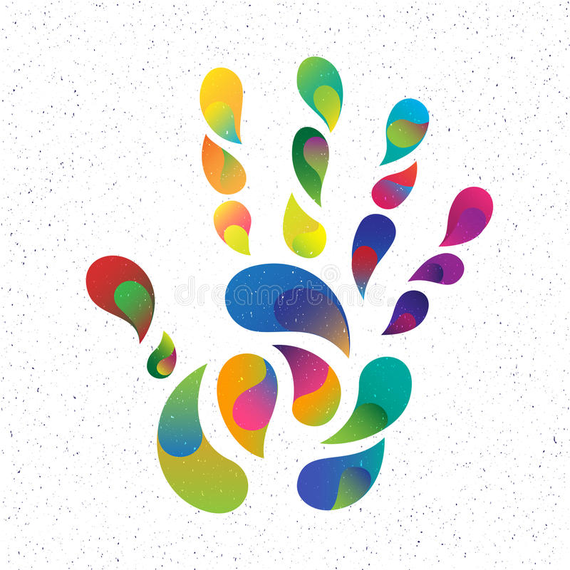 Rainbow hand print royalty free illustration