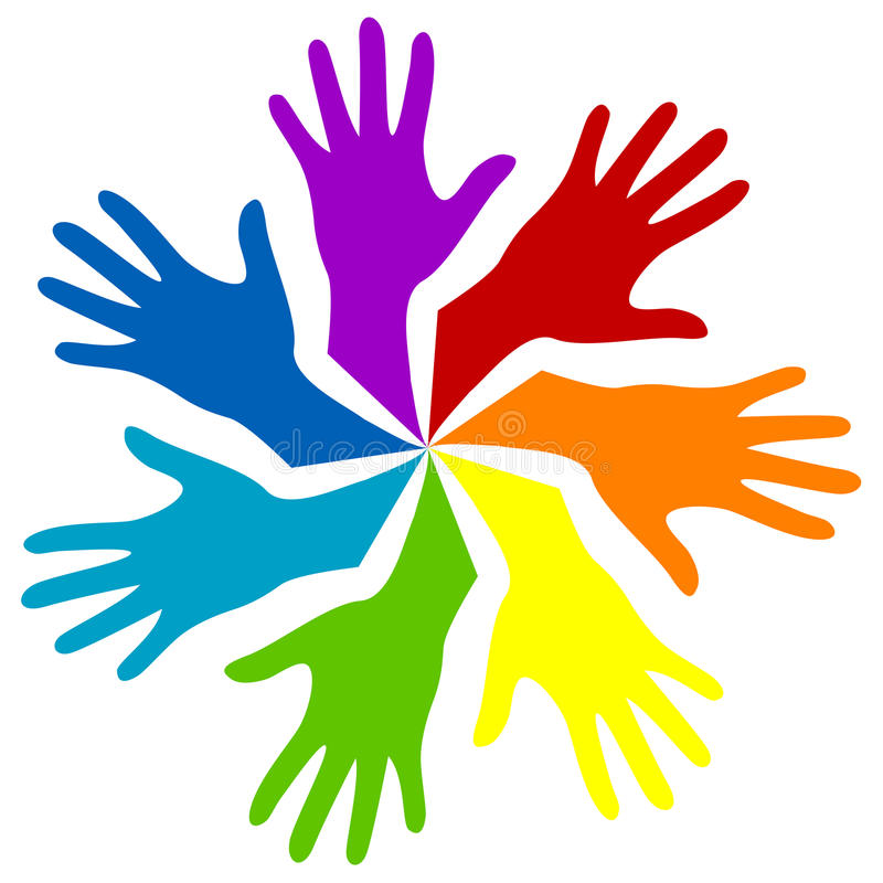 Rainbow hands stock illustration