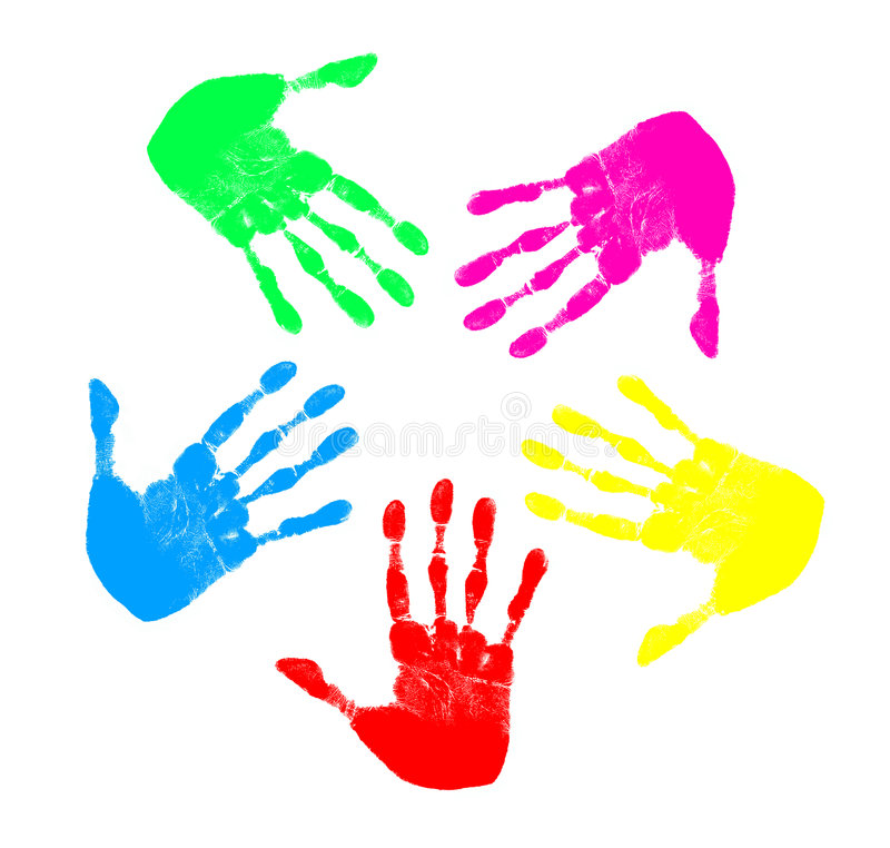 Rainbow Hands. Five hand prints of different colors in a circle pattern royalty free illustration