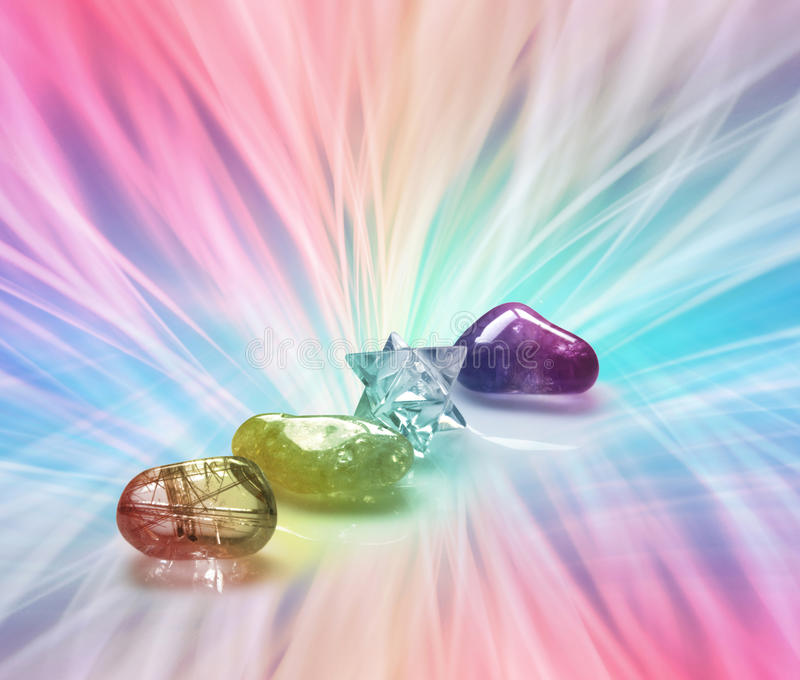 Rainbow Healing Crystals stock illustration