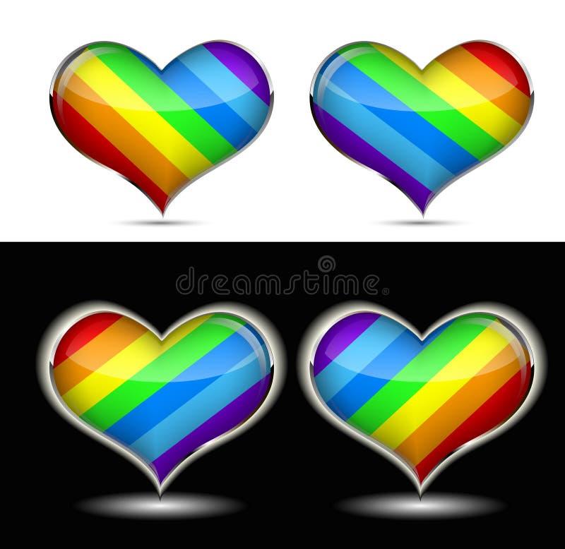 Rainbow heart. Glowing on black background stock illustration
