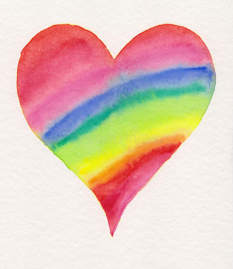 Rainbow heart aquarell painting. Watercolor painting on aquarell paper. A heart with rainbow colors vector illustration