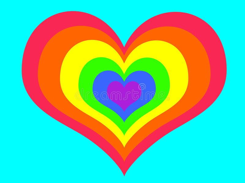 Rainbow heart on blue background