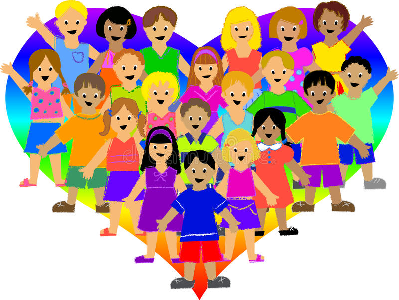 Rainbow Heart Kids/eps royalty free stock photography