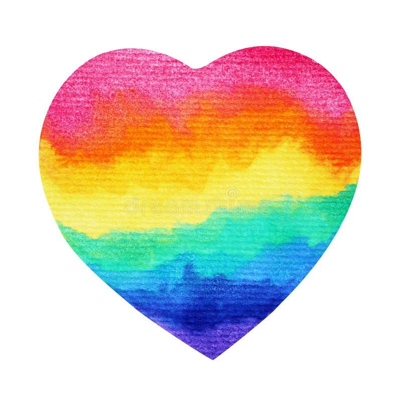 Rainbow heart LGBT symbol watercolor painting hand drawn royalty free illustration
