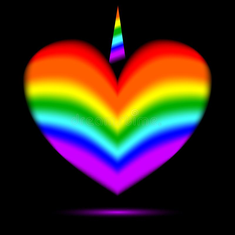 Rainbow heart with a unicorn horn royalty free stock images