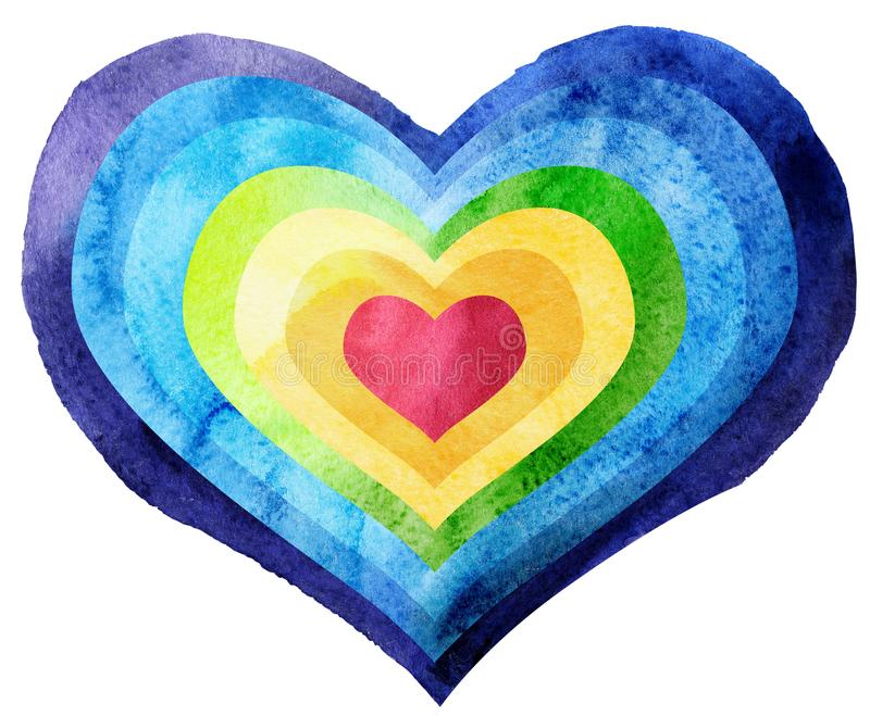 Watercolor textured rainbow heart royalty free stock image