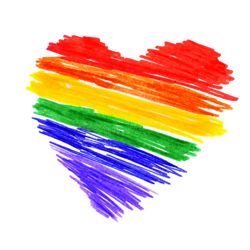 Rainbow heart stock image