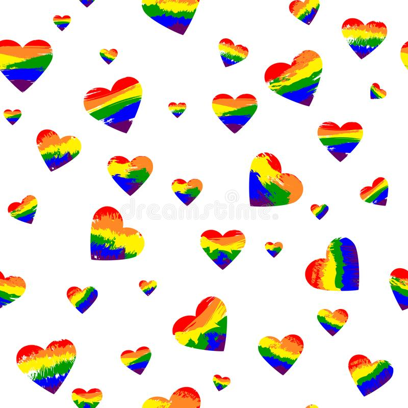 Rainbow hearts. grunge brushes. vector seamless pattern. textile paint. repetitive background. fabric swatch. wrapping paper royalty free illustration