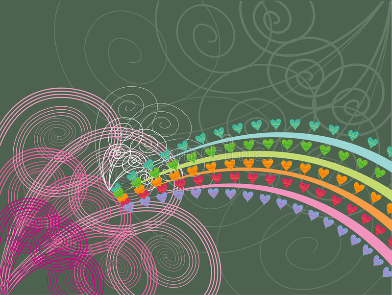 Rainbow hearts pink swirls stock illustration