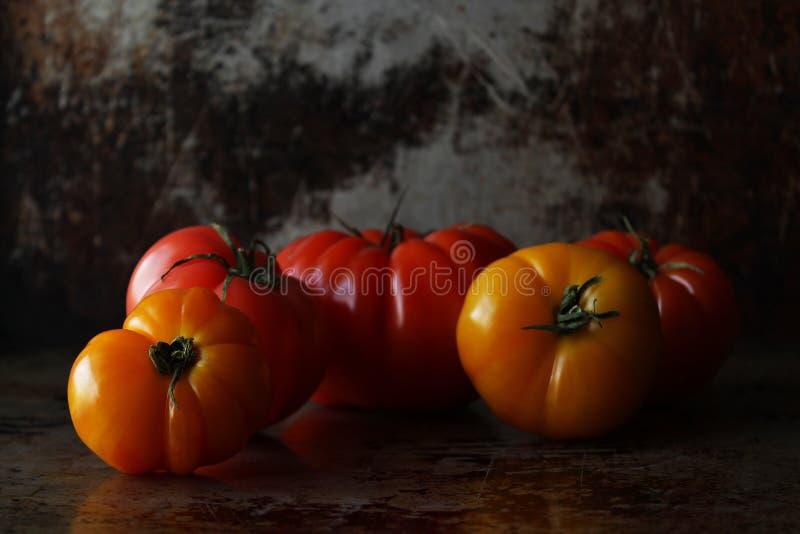 Rainbow heirloom tomatoes stock images