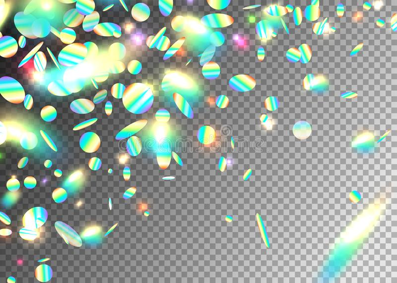 Rainbow holographic effect background with glitter, neon, light foil particles. Iridescent round shape fraction at. Diagonal dynamic composition. Motion glitch vector illustration