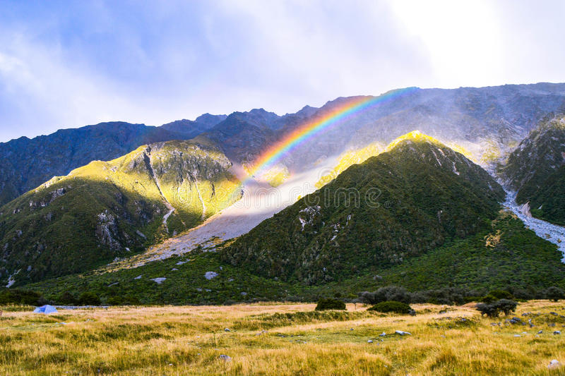 Rainbow At Valley Track stock images