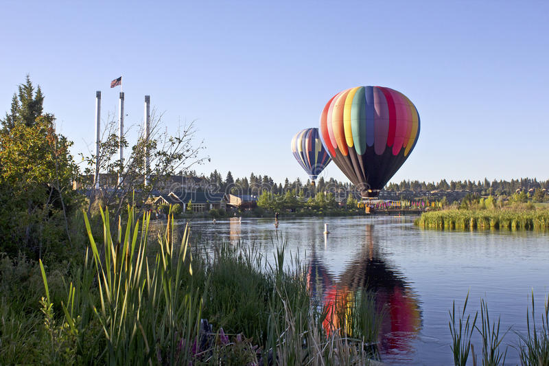 Rainbow Hot Air Ballon At Old Mill Bend, Oregon stock photos