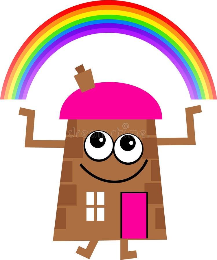 Rainbow house stock illustration