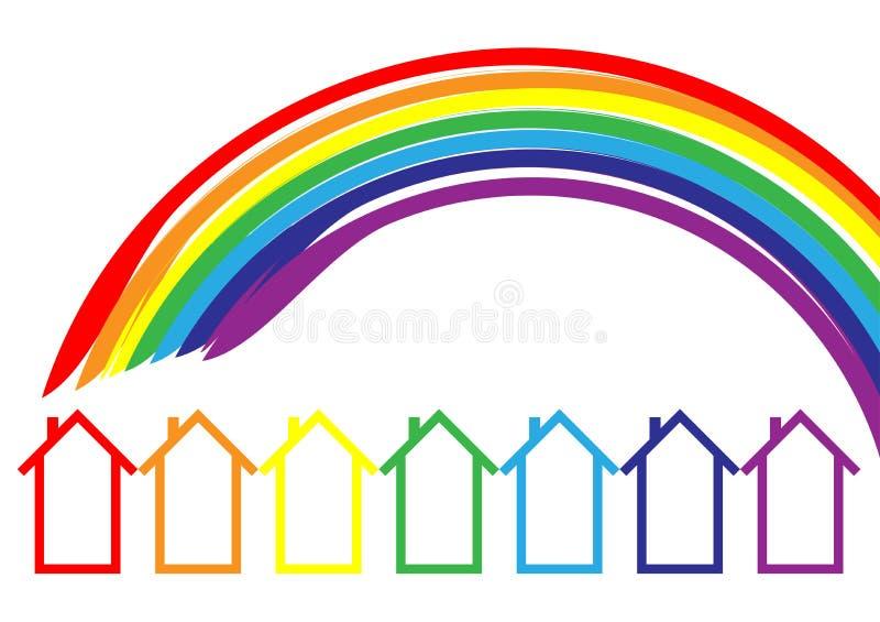 Rainbow houses. Logo design vector illustration