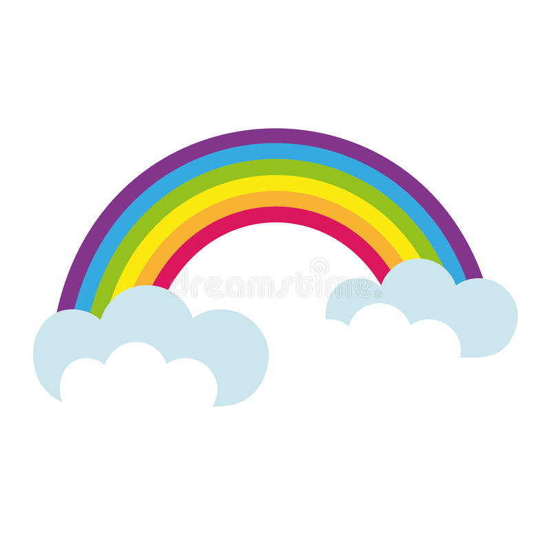 Rainbow, icon flat style. St. Patrick`s Day symbol. on white background. Vector illustration. stock illustration