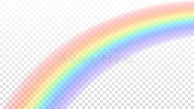 Rainbow icon. Shape arch realistic on white transparent background. Colorful light and bright design element stock illustration