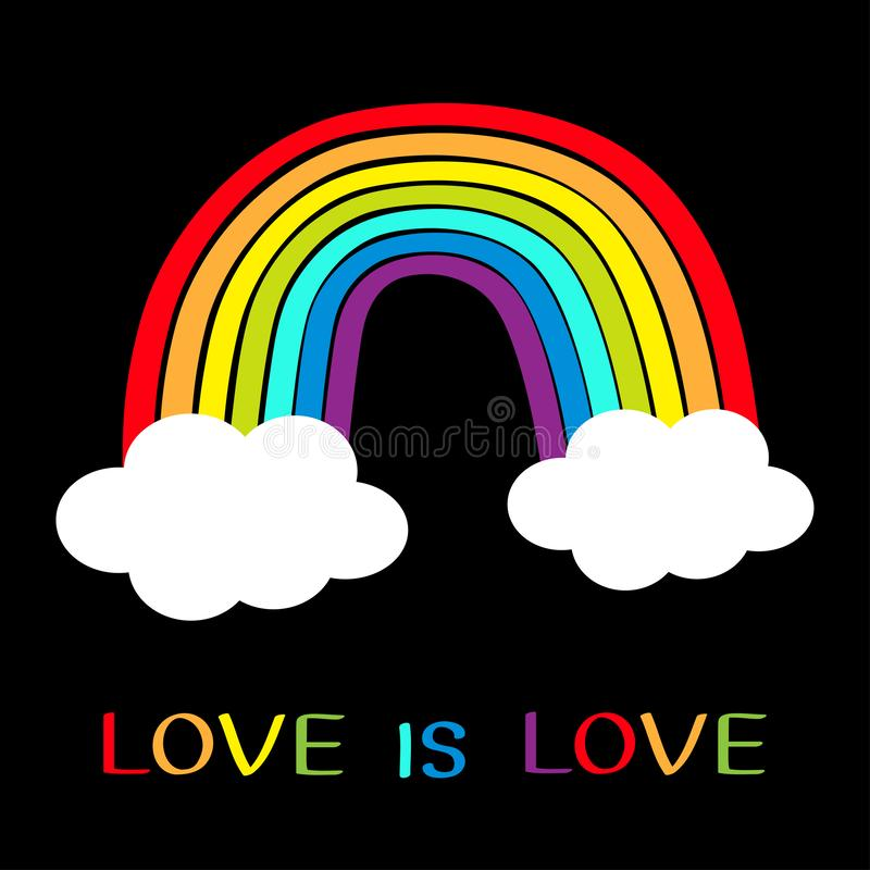 Rainbow icon. Two clouds in the sky. Colorful line set. Cloud shape. Cute cartoon kawaii kids clip art. Love is love. Greeting. Card. LGBT community. Gay flag royalty free illustration