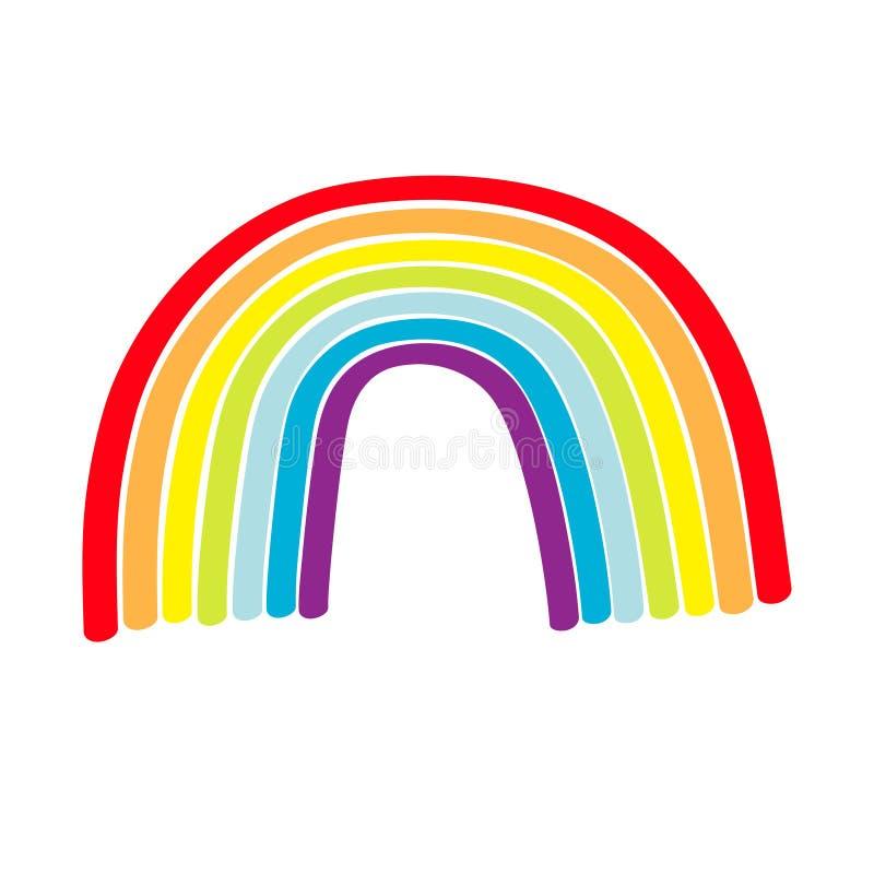 Rainbow icon on white background. Colorful line set. Cute cartoon kawaii kids clip art. Greeting card. LGBT community. Gay flag. Symbol. Flat design. Vector royalty free illustration