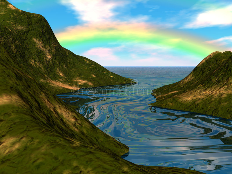 Rainbow Island stock illustration