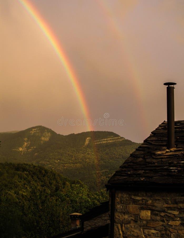 Rainbow in the Italian countryside royalty free stock photos