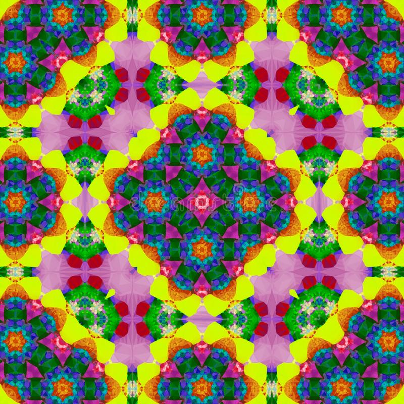 Rainbow kaleidoscope design for square pocket, shawl, textile. Paisley floral pattern. vector illustration