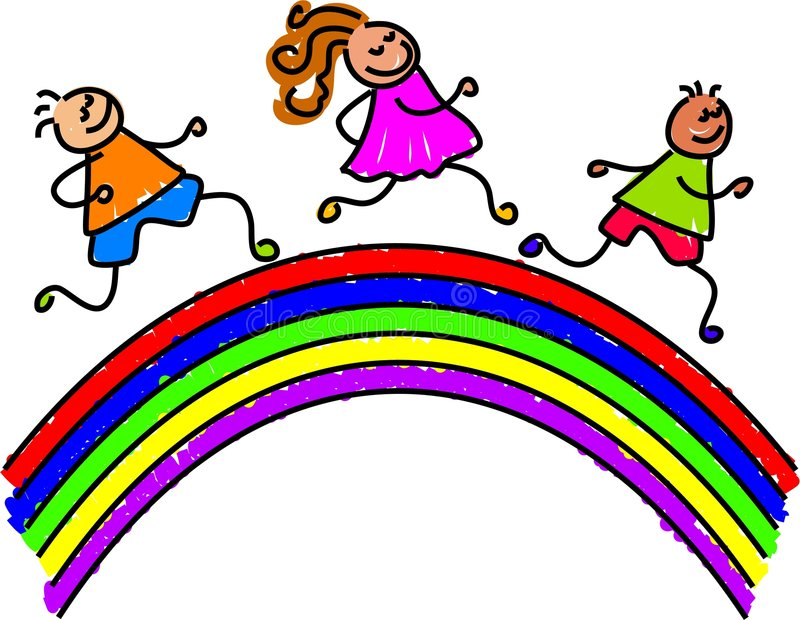 Rainbow kids vector illustration
