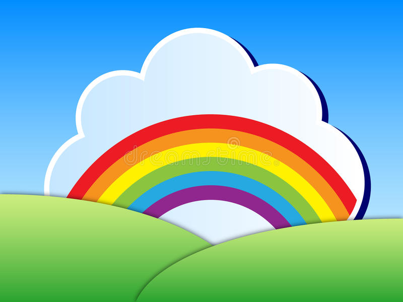 Rainbow landscape. Vector cartoon illustration of colorful rainbow in white cloud over green landscape and blue sky
