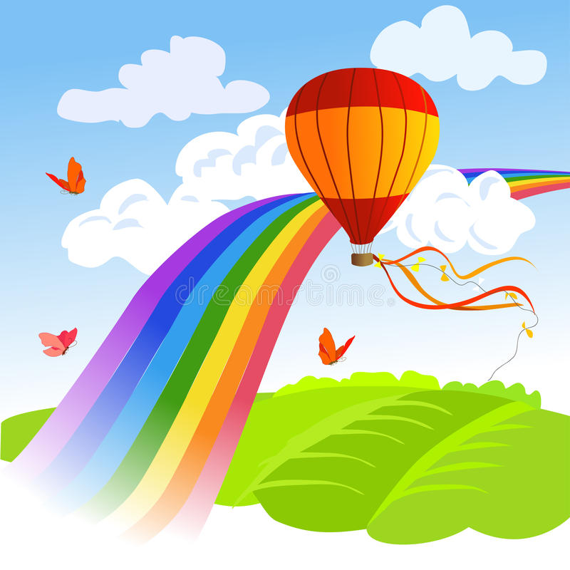 Rainbow, landscape and hot air balloon stock illustration