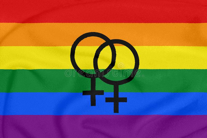 Rainbow lesbian pride flag on a textured fabric. LGBT community. Pride symbol stock photos