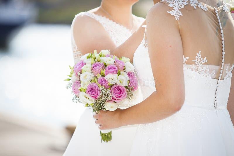 Rainbow lesbian Wedding sexy brides royalty free stock images