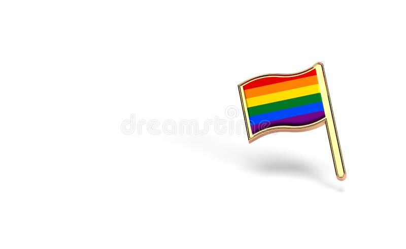 Rainbow LGBTQ flag. Gay pride month symbol concept. Isolated on white background with copy space. 3D rendering. Rainbow LGBTQ flag. Gay pride month symbol royalty free illustration