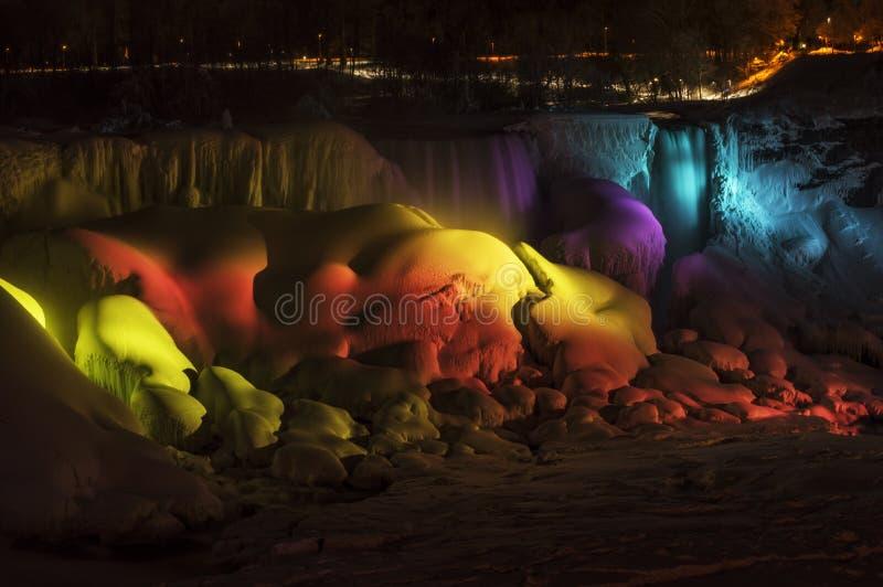 Rainbow Light on Frozen Falls royalty free stock photos