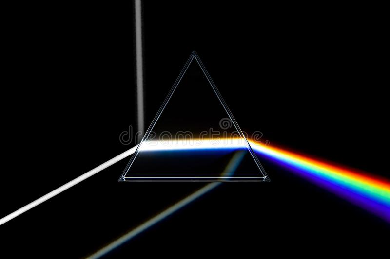 Rainbow light prism. Optical glass pyramid with visible spectrum stock illustration