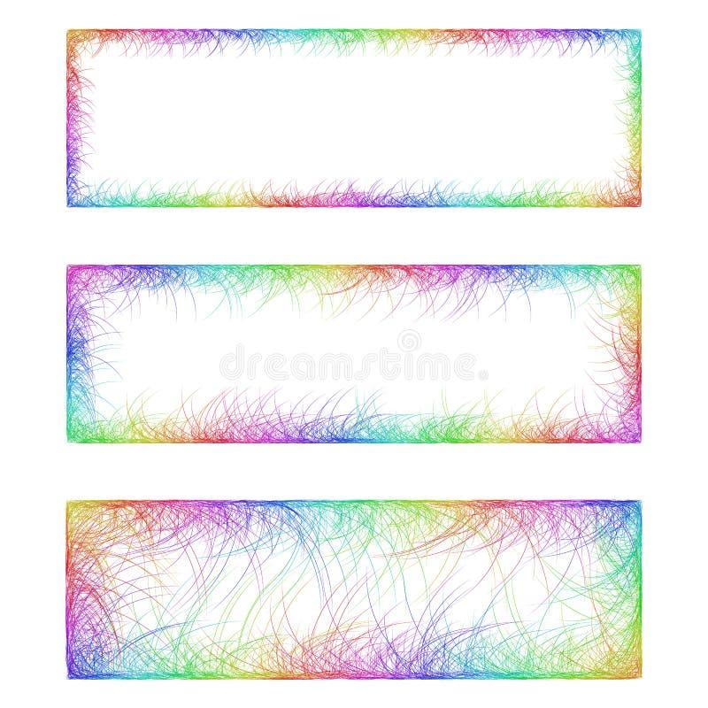Rainbow line art banner frame design set stock photography