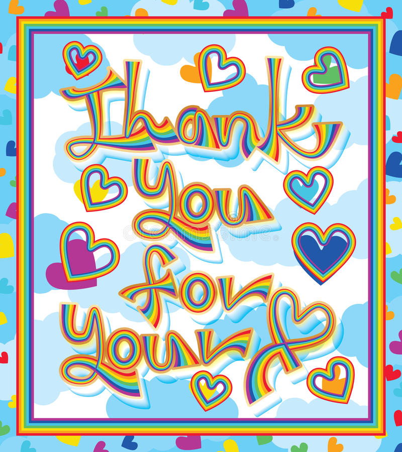 Rainbow line thank you for your love frame vector illustration