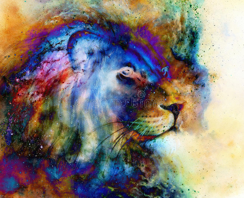 Rainbow lion on beautiful colorful background with hint of space feeling, lion profile portrait. royalty free illustration