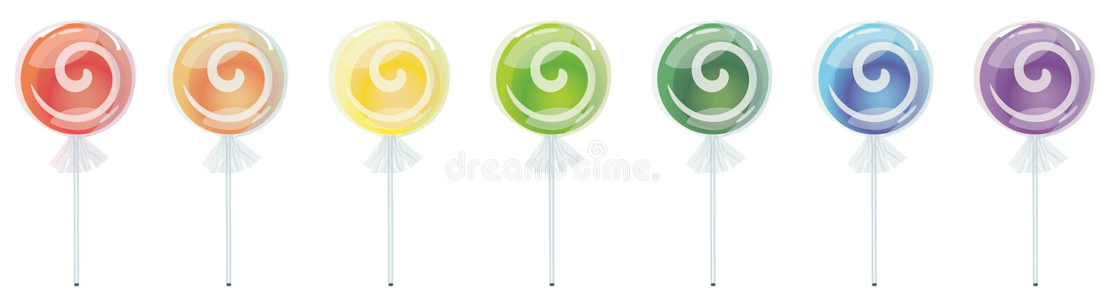Download Rainbow Lollipop stock illustration. Illustration of treat - 6801901