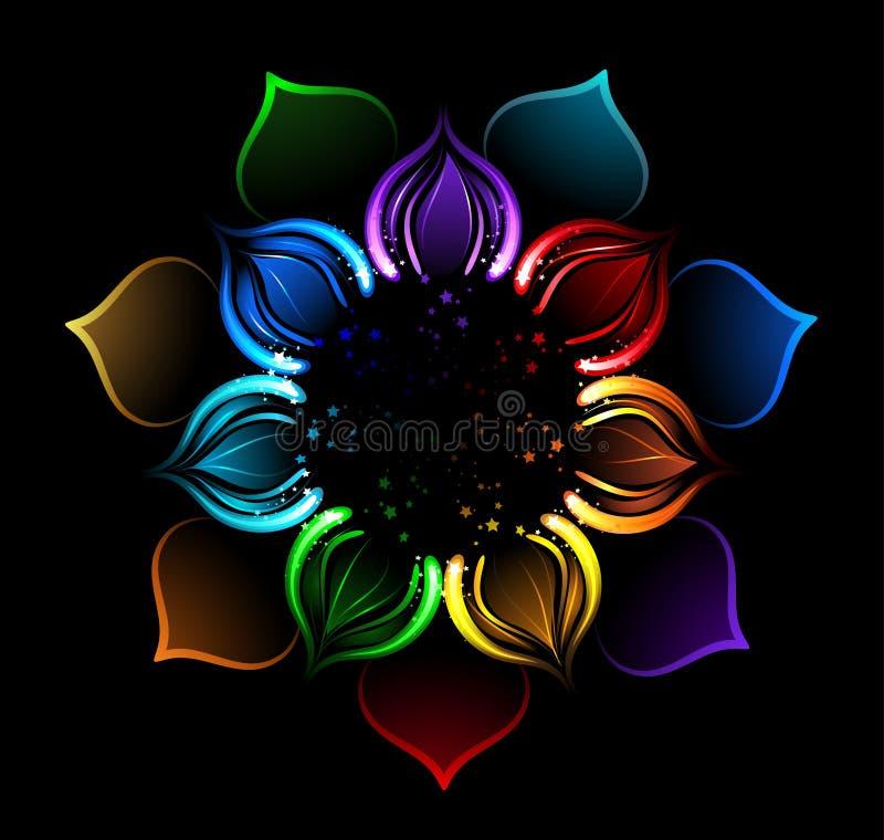 Rainbow lotus stock illustration